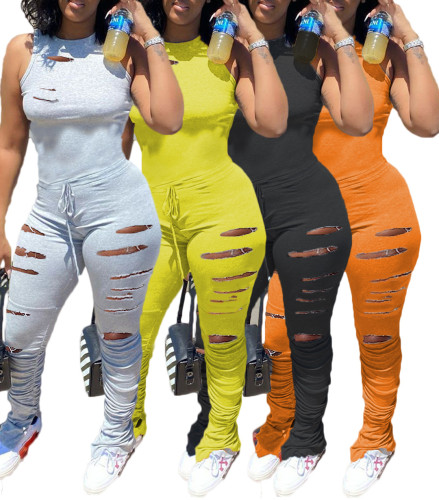 Plain Color Ripped Fashion Bodycon Jumpsuit