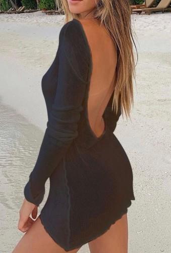 Black Backless Long Sleeve Mini Beach Dress Knitting Cover Up