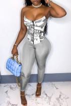 Sexy Print Gray Corset Top and Tight Pants Set