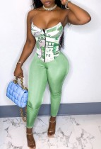 Sexy Print Green Corset Top and Tight Pants Set