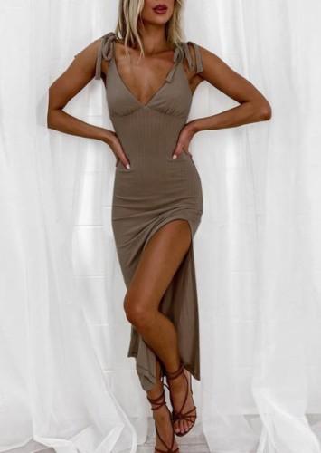 Solid Color Side Slit Deep-V Long Cami Dress