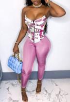 Sexy Print Pink Corset Top and Tight Pants Set