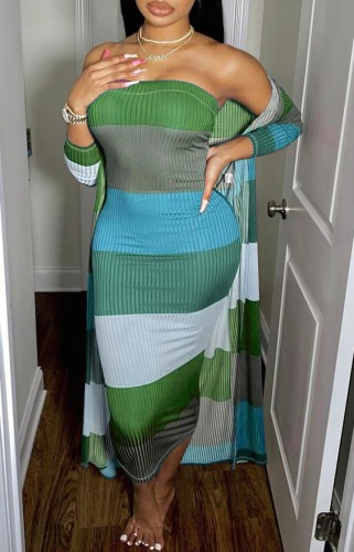 Vertical Striped Colorful Tube Dress with Long Cardigan