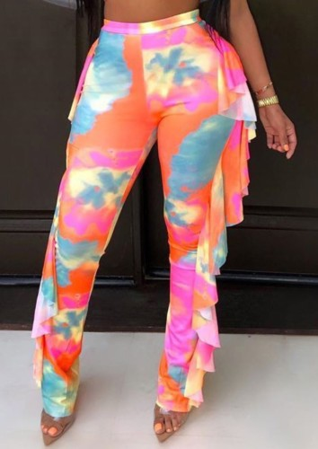 Print Colorful Sexy Ruffle Beach Trousers