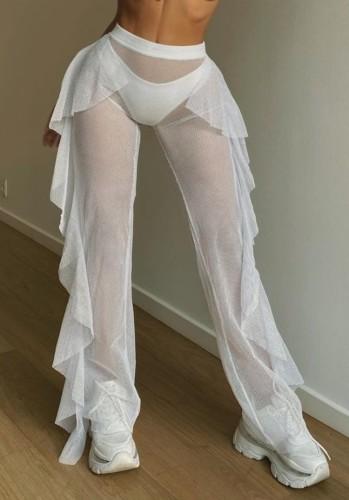 White Mesh High Waist Cascading Beach Pants