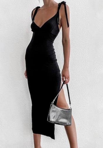 Black Color Side Slit Deep-V Long Cami Dress