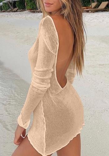 Khaki Backless Long Sleeve Mini Beach Dress Knitting Cover Up
