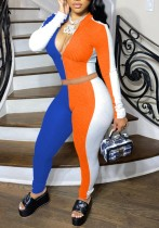 Colorblock Zipper Top and Tight Pants Bodycon 2PCS Set