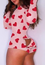 Heart Print Pink Long Sleeve Sexy Lounge Rompers with Butt Flap