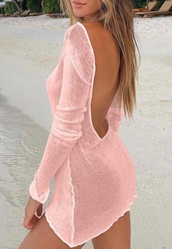 Pink Backless Long Sleeve Mini Beach Dress Knitting Cover Up