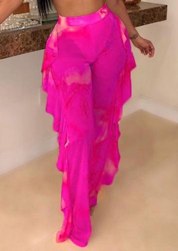 Print Hot Pink Sexy Ruffle Beach Trousers
