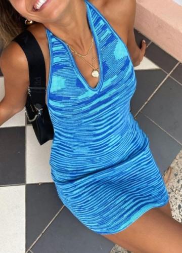 Blue Striped V-Neck Knitting Halter Backless Mini Dress