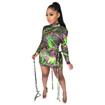 Turtle Neck Long Sleeve Print Green Mesh Strings Bodycon Dress