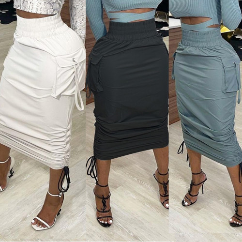 Drawstring Sexy Ruched Midi Skirt with Pockets
