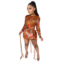 Turtle Neck Long Sleeve Print Orange Mesh Strings Bodycon Dress