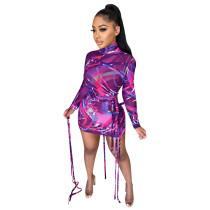Turtle Neck Long Sleeve Print Purple Mesh Strings Bodycon Dress