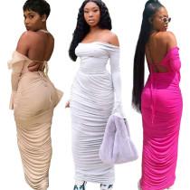 Solid Off Shoulder Backless Ruched Maxi Dress