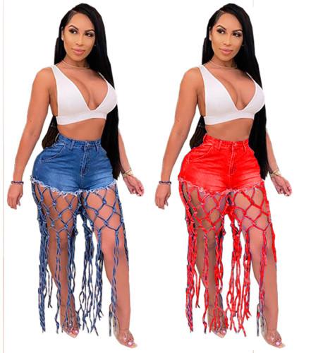 Stylish High Waisted Tassels Sexy Denim Shorts