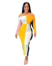Contrast Off Shoulder Full Sleeve Long Dress