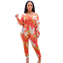 Tie-dye Long Sleeve Tight-Fit Jumpsuit with Pockets