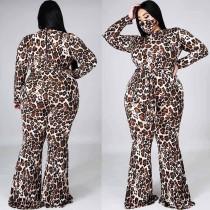 Leopard Print  Flare Jumpsuit (without Mask)