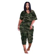 Camo Print Leisure V Neck Short Sleeve Jumpsuit