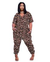 Leopard Print Leisure V Neck Short Sleeve Jumpsuit