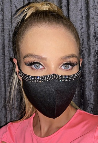 Women Fashion Rhinestone Earloop Mask(2pc Pack)