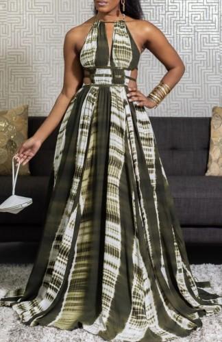 Tie Dye Halter Hollow-Out Maxi Evening Dress