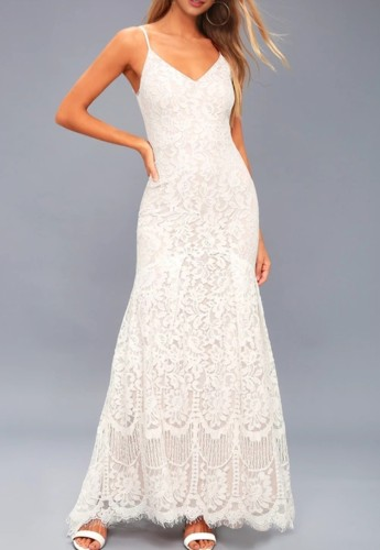 White Lace Cami Mermaid Evening Dress