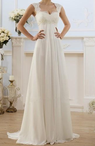 White Lace Bodice High Waist Evening Dress