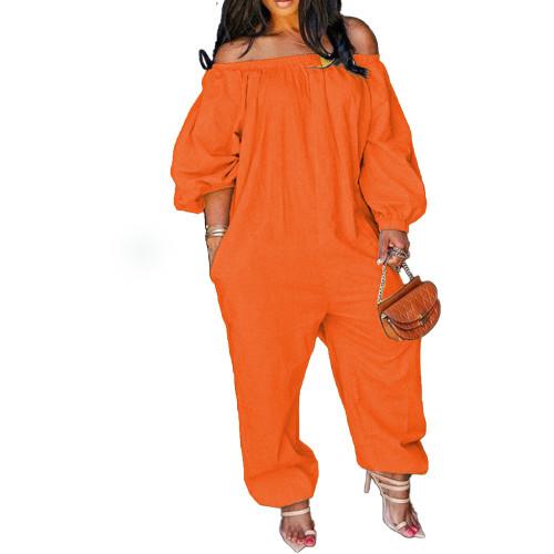 Orange Leisure Loose Off Shoulder Jumpsuit