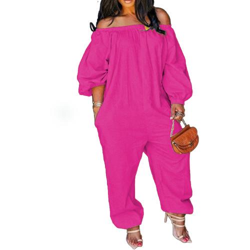 Pink Leisure Loose Off Shoulder Jumpsuit