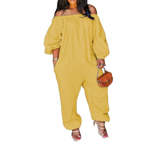 Yellow Leisure Loose Off Shoulder Jumpsuit