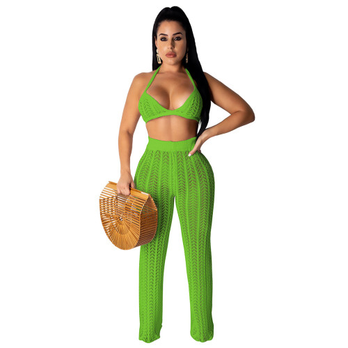 Sexy Green Hollow Out Knitting Beach 2PCS Cover Up Bra Top and Pants Set