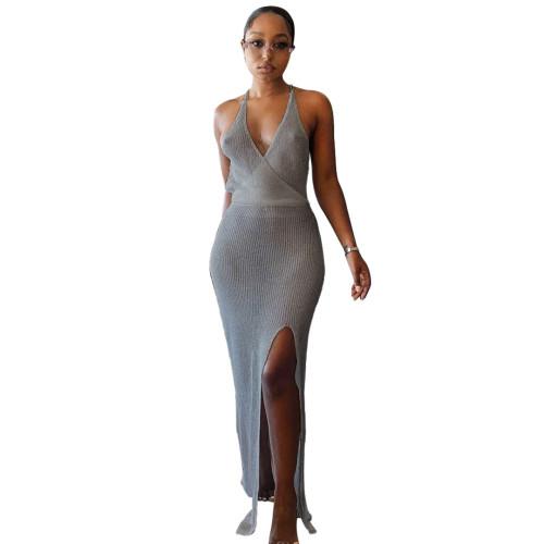 Gray Knitting V-Neck Halter See Through Maxi Beach Dress Cover Up