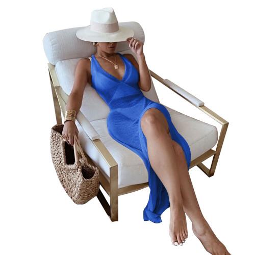 Blue Knitting V-Neck Halter See Through Maxi Beach Dress Cover Up