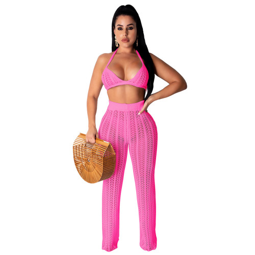 Pink Sexy Hollow Out Knitting Beach 2PCS Cover Up Bra Top and Pants Set