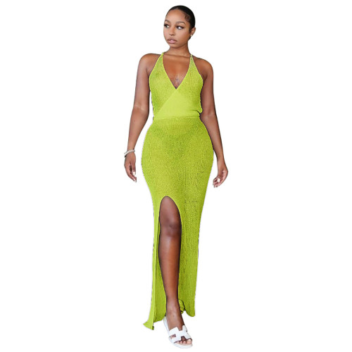 Yellow Knitting V-Neck Halter See Through Maxi Beach Dress Cover Up