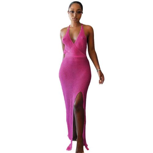 Hot Pink Knitting V-Neck Halter See Through Maxi Beach Dress Cover Up