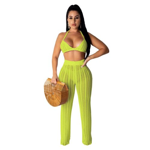 Sexy Hollow Out Knitting Beach 2PCS Cover Up Bra Top and Pants Set