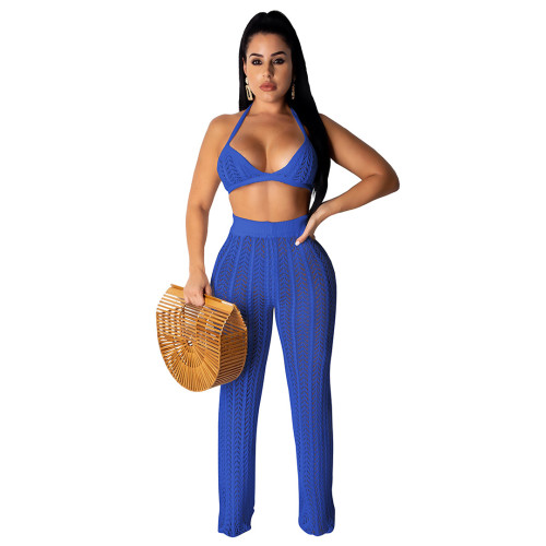 Blue Hollow Out Knitting Beach 2PCS Cover Up Bra Top and Pants Set