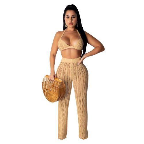 Sexy Camel Hollow Out Knitting Beach 2PCS Cover Up Bra Top and Pants Set