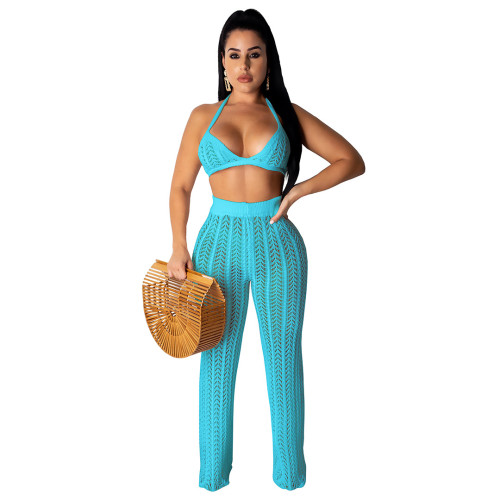 Sexy Lake Blue Hollow Out Knitting Beach 2PCS Cover Up Bra Top and Pants Set