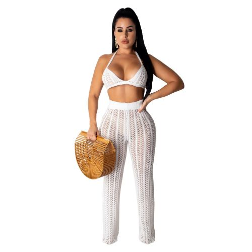 White Sexy Hollow Out Knitting Beach 2PCS Cover Up Bra Top and Pants Set