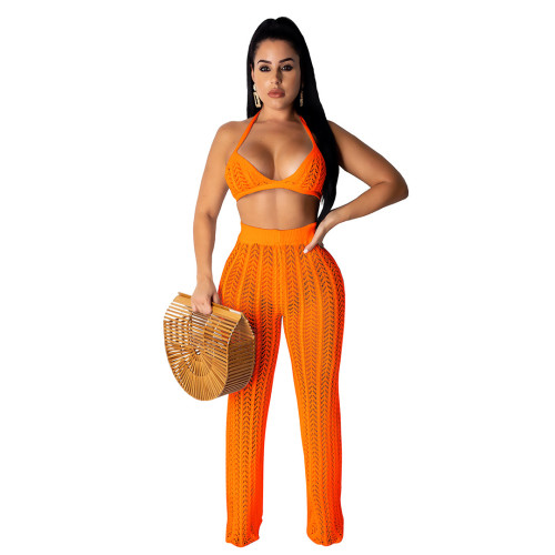 Orange Sexy Hollow Out Knitting Beach 2PCS Cover Up Bra Top and Pants Set