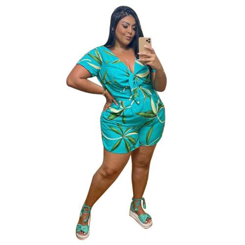 Plus Size Leaf Print Tie Front Casual Jumpsuit