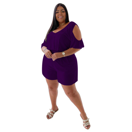 Plus Size Purple Cold Shoulder Casual Loose Rompers