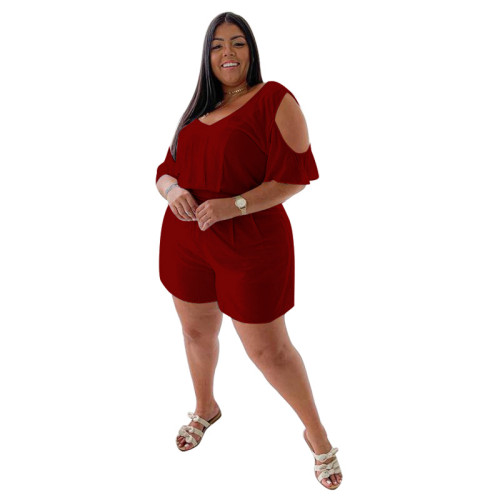 Plus Size Burgundy Cold Shoulder Casual Loose Rompers