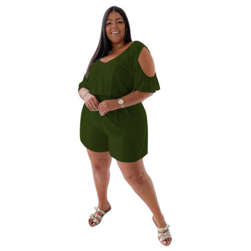 Plus Size Army Green Cold Shoulder Casual Loose Rompers